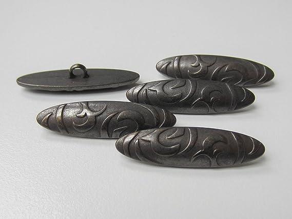 5 traumhaft schöne eisenfarbene Metall Knebel Knöpfe mit Ranken Muster 1113ei
