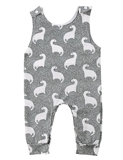 3ff9aa7d941f Amazon.com  ThreeC Baby Boys Girls Sleeveless Dinosaurs Harem Romper ...