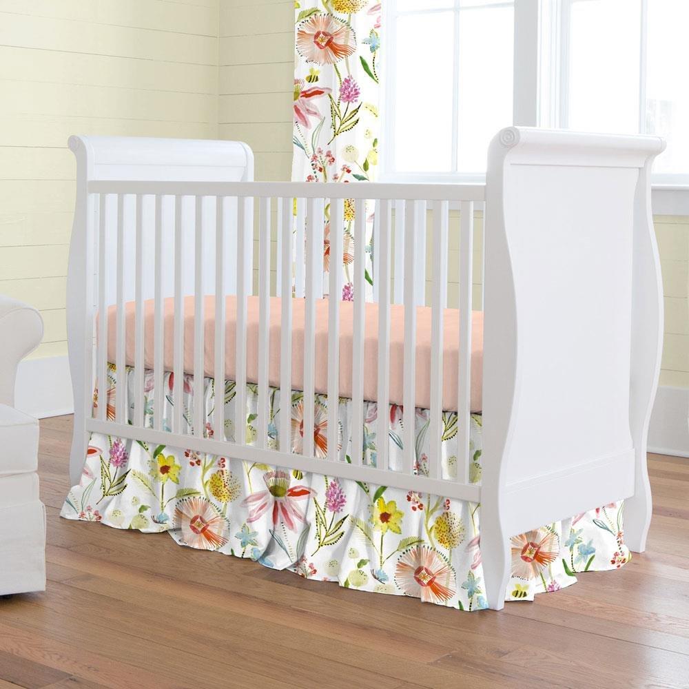 Carousel Designs Watercolor Springtime Crib Skirt Gathered 20-Inch Length