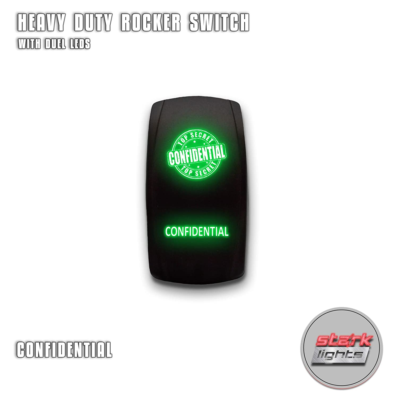 20A 12V ON//OFF Green STARK 5-PIN Laser Etched LED Rocker Switch Dual Light TRUCK ROCK LIGHTS
