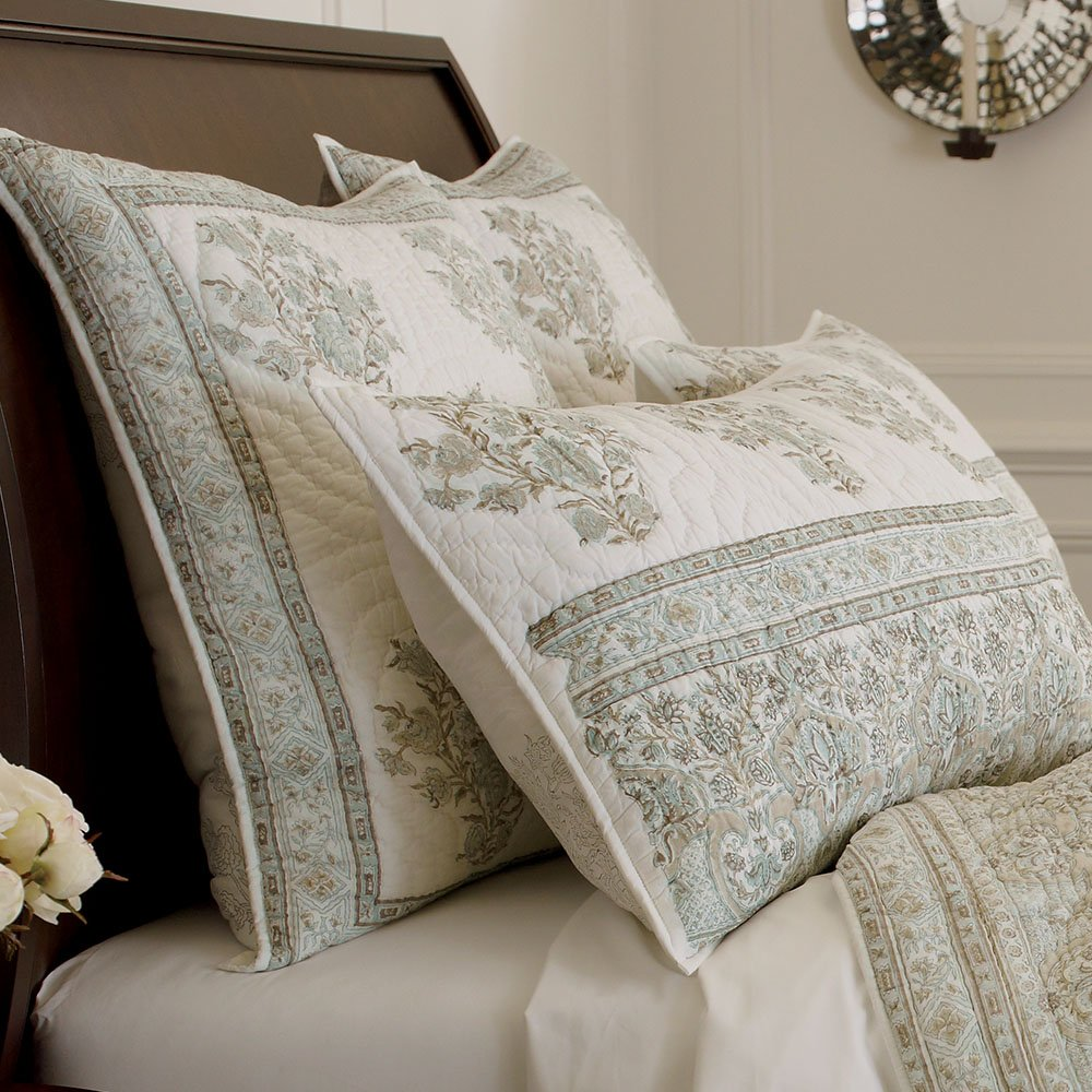 Ethan Allen Hand-Blocked Quilted Sham, Mineral, King