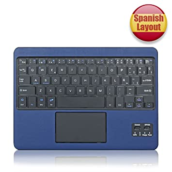 MINLIDAY Teclado Bluetooth con Touchpad, QWERTY Español para Tablet Windows & Android, Huawei Lenovo Galaxy Tab