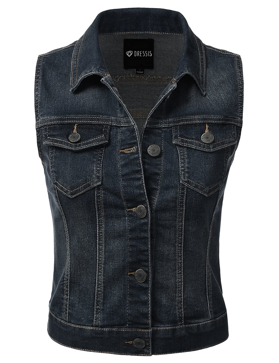 DRESSIS Womens Casual Sleeveless Denim Jean Cropped Vest Jacket