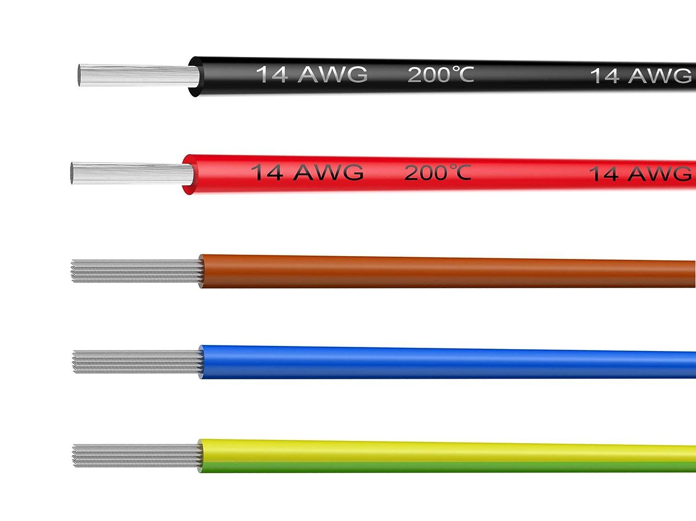 NorthPada 18 AWG 0,75mm/² Alambres el/éctricos Kit de Cable El/éctrico Cables de silicona Cable de cobre esta/ñado 5 Colores 600V 7,5A 20 Metros