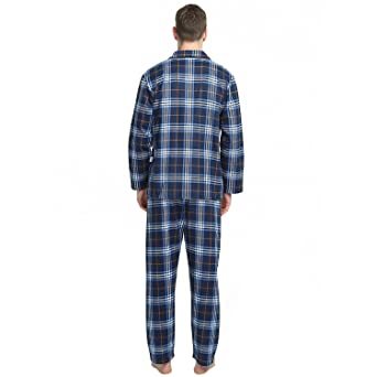 Amazon.com: 2-Piece Mens Cotton Flannel Pajamas Sets Tops Pants Elastic Drawstring: Clothing