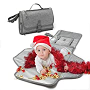 ISAMANENR Changing Pad - Portable Changing Pad, Baby Changing Pad Portable Diaper Pad, Diaper Changing Pad, Folding Diaper Clutch, Baby Travel Kits, Diaper Pouch, Travel Changing Mat with Pillow(Grey)