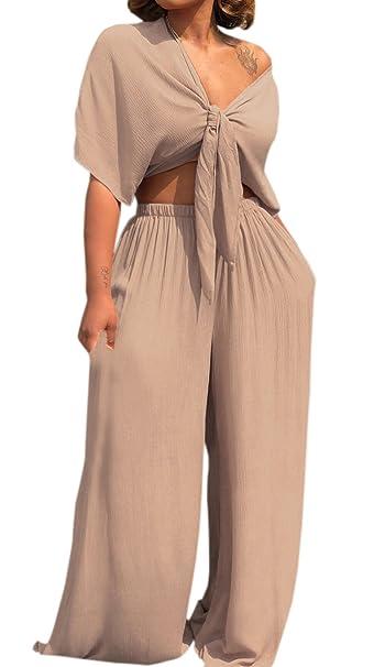 Legendaryman Verano Mujeres Moda Colores Lisos 2 Piezas Conjunto de Club Pierna Ancha Largos Pantalones de