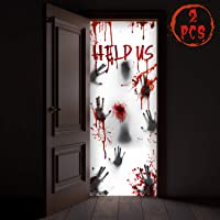 """KD KIDPAR 2PCS Halloween Decorations for Door and Window, Scary Zombie Bloody HandprintsCover Posters Indoor and Outdoor, 80×36"""""""
