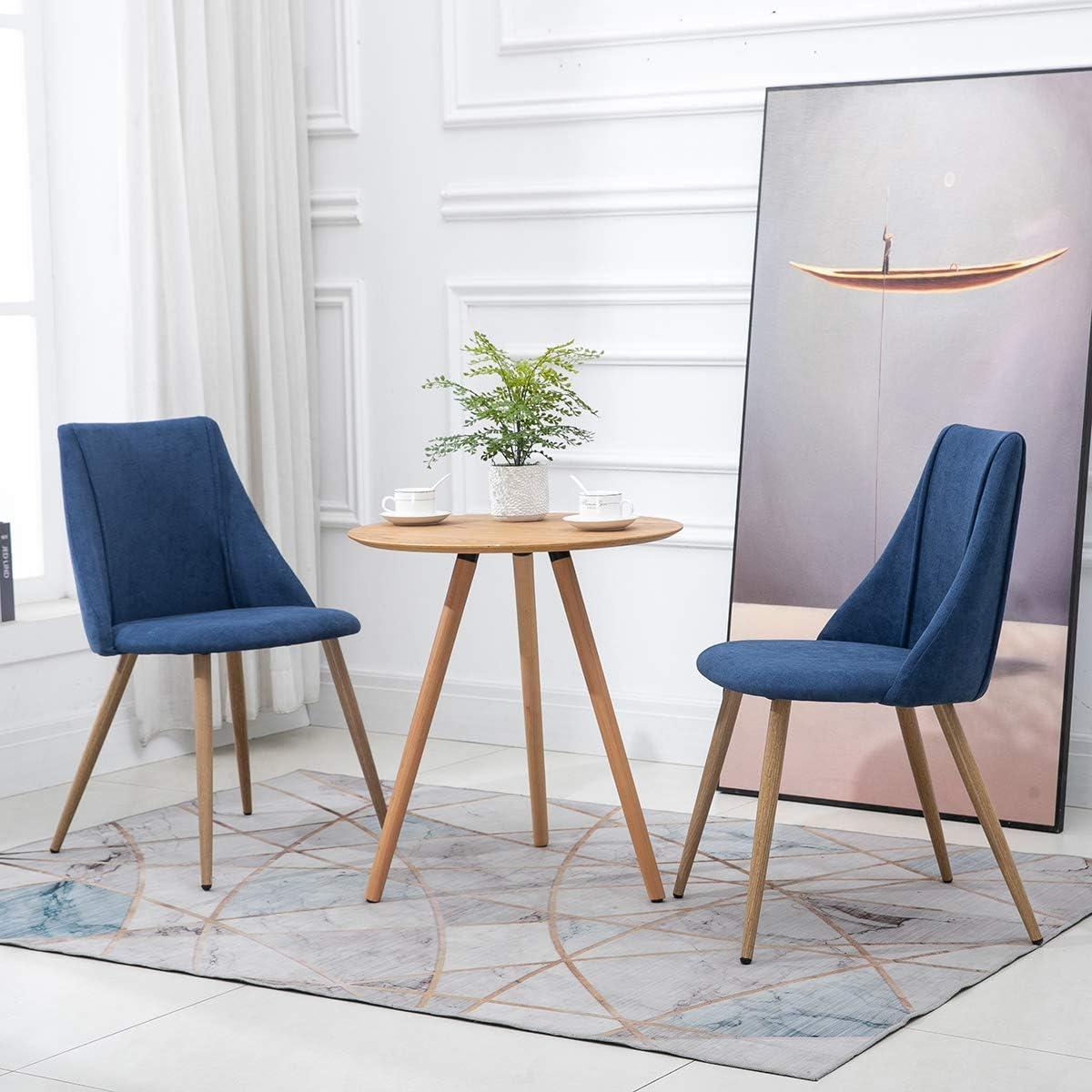 52,5x49,5x83,5 cm Bois MEUBLE COSY Lot de 2 Salle /à Manger en Tissu bleu Chaise de Salon Scandinave Bureau Pieds en M/étal avec Finition imitation Ch/êne Clair