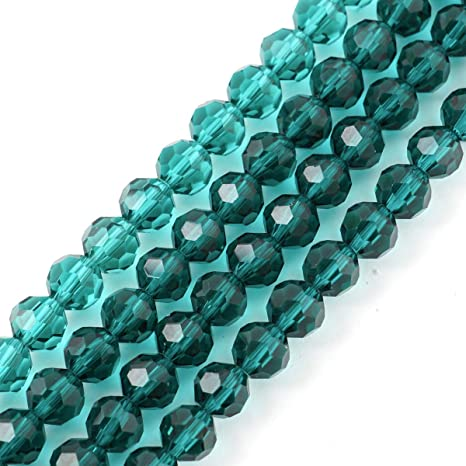 6mm Green Color Glass Faceted 300 Beads Qty 5 Strands