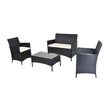 EBS 4 piezas Cojines de exterior Mimbre Juego de césped Mueble de jardín color blanco Loveseat + Superior de cristal mesa de café - Juego de acabado en ...