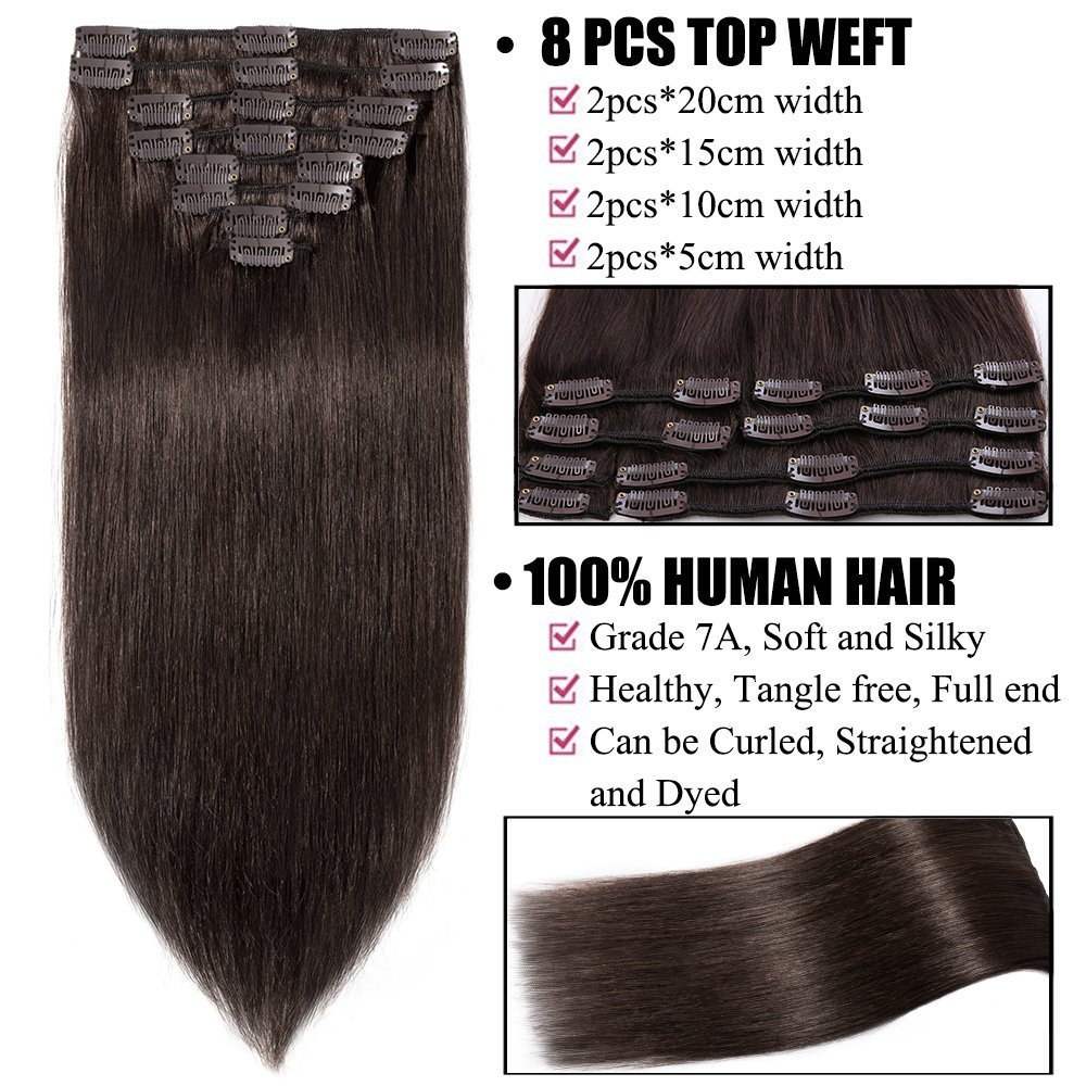 Amazon 10 Inch 70g Clip In Remy Human Hair Extensions Full