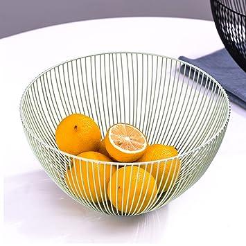 CS Cesta de fruta de hierro Cesta de frutas Cesta de la sala Snacks para el hogar Fruta seca Tazón de almacenaje de gran capacidad (Color : Black) : ...
