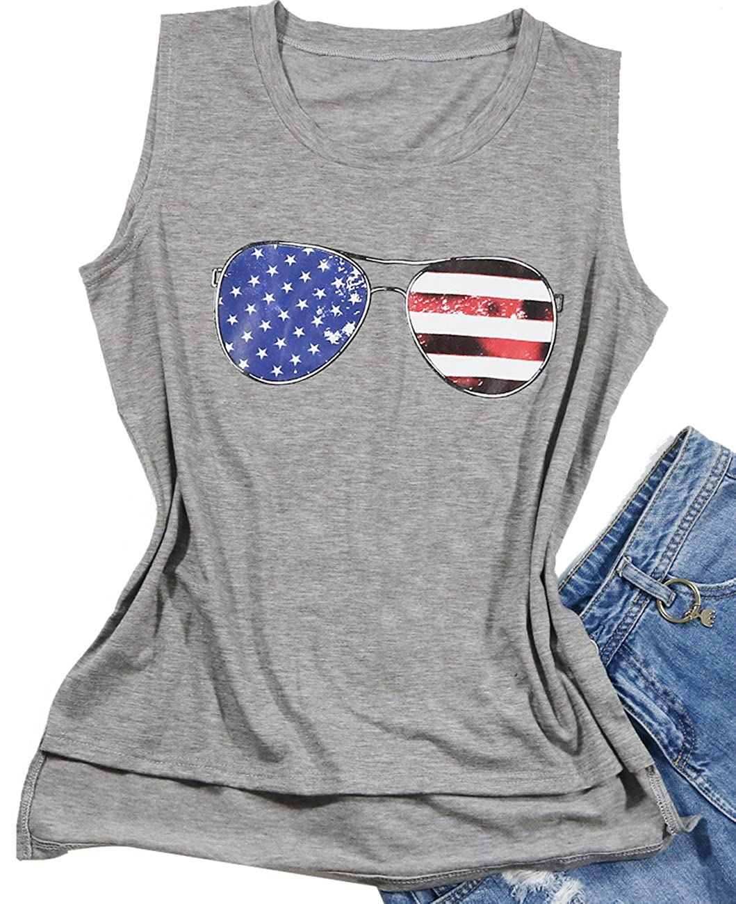 bbeb3869f24 American Flag Sunglasses Funny Graphic Tank Top Women Ladies USA Flag Tank  Top American Flag Stripe Printed Cute Tops T-Shirt.