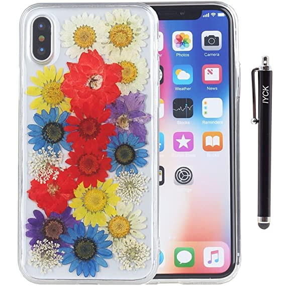 c1feeb482ff1b3 iPhone X Case, iPhone Xs Case, iYCK Handmade [Real Dried Flower and Leaf
