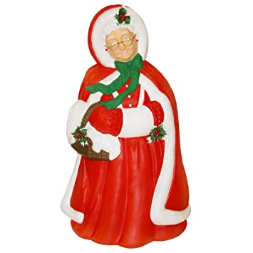 mrs santa claus christmas light up blow mold plastic lighted 40 figurine in red