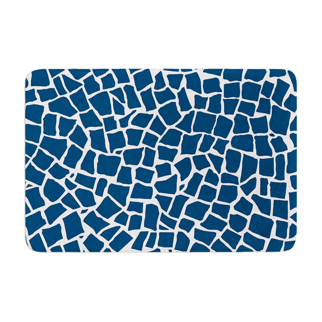 Kess InHouse Project M British Mosaic Navy Memory Foam Bath Mat 17 by 24