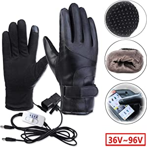 Yunhigh Rechargeable Electric Heated Gloves for Men Women,Touchscreen Waterproof Cold Weather Thermal Heated Gloves,Hand Warmer Gloves for Skiing Hunting Fishing Camping Cycling Moto