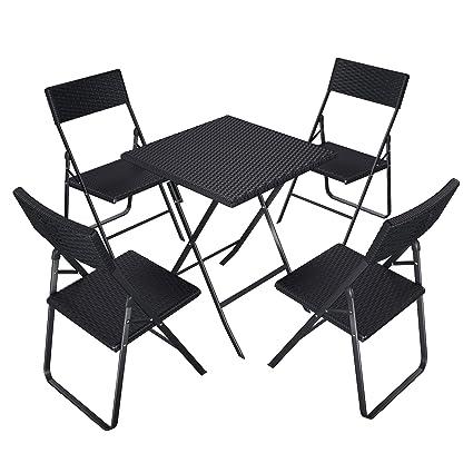 Klapptisch Rattan-Optik Balkontisch Gartentisch 75 x 61 x 61 cm schwarz Tisch
