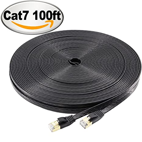 NCElec Flat STP Cat7 Ethernet Cable, Safe for In-wall and Outdoor Use (