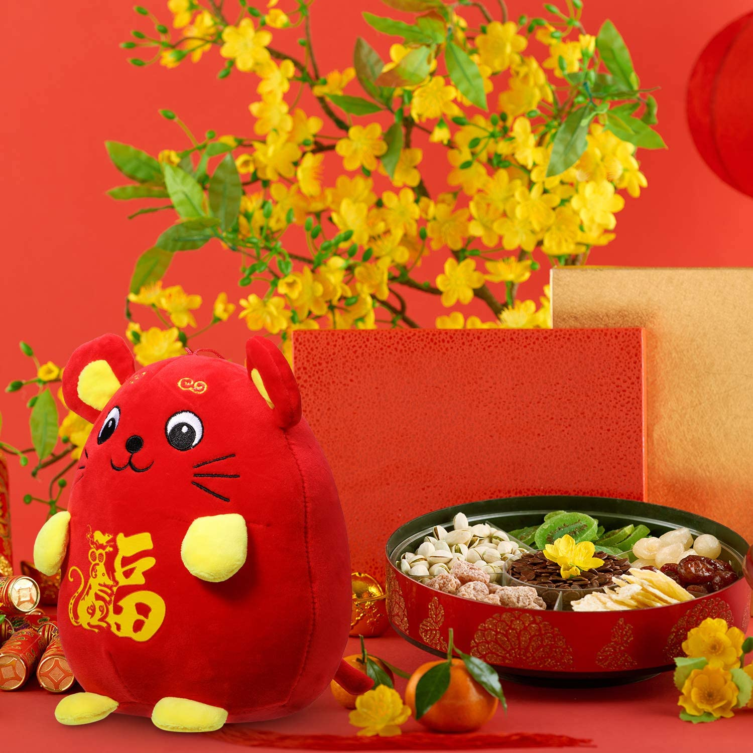 1 Pack, Rat with Word Fu Chinese New Year Red Rat Ornament Decorations Year of The Mouse Festival Decoration Good Luck Plush Red Mascot Mouse Stuffed Animal Table Shelf Decor Home Figurines