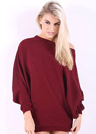 5474150b1923 Womens Off the Shoulder Chunky Knit Jumper Ladies Oversized Baggy Sweater  Top (Wine)  Amazon.co.uk  Clothing