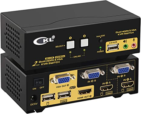 Dual//2-Port USB VGA KVM Switch Box Fr Mouse Keyboard Monitor Sharing Computer PC