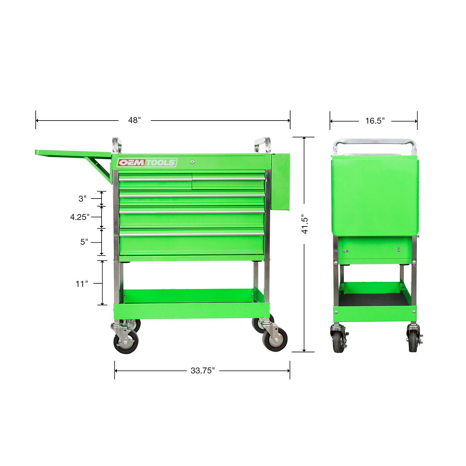 Professional Service Cart - 5 Drawer and 1 Tray (Green) by OEMTOOLS (Image #9)