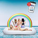 LetsFunny Giant Inflatable Rainbow Cloud Floats with Rapid Valves Pool Party Beach Swimming Floaty Lounger Decorations Toys Games for Adult and Kids (Large Raft)