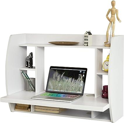 SoBuy Mesa de Ordenador Armario de Pared, Mesa de Escritorio de la Computadora Tabla, Blanco, FWT18-W, ES