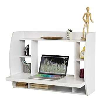 SoBuy FWT18 W White Wall mounted Table Desk with Storage Shelves