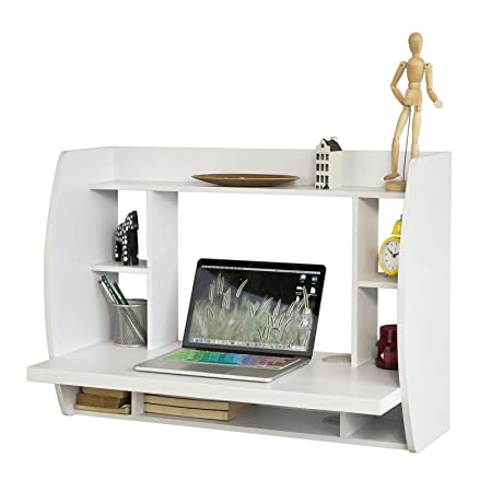 office desk shelf. SoBuy® FWT18-W, White Wall-mounted Table Desk With Storage Shelves And Office Shelf K