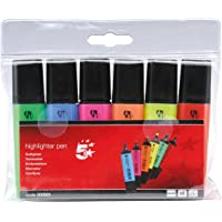 5 Star Highlighters Chisel Tip 1-4mm Line Assorted [Wallet 6]