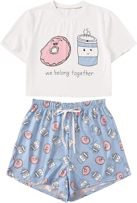 DIDK Women's Cartoon Print Tee and Curved Hem Shorts Pajama Set