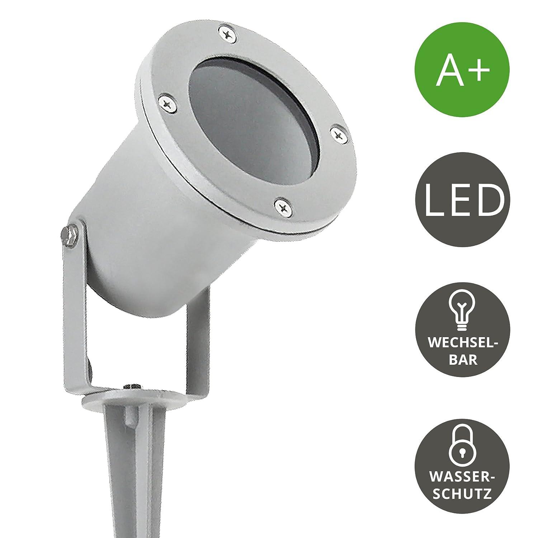mit 3W GU10 LED warmwei/ß Gartenleuchte Kopf schwenkbar in silber grau 2 St/ück LED Gartenstrahler mit Erdspie/ß f/ür au/ßen
