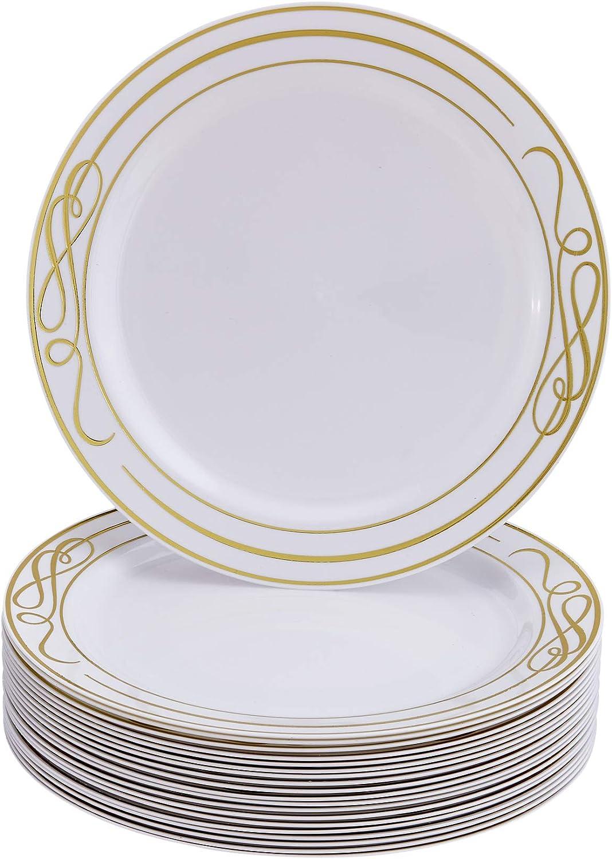 Aspecto Elegante de Porcelana 20 Unidades Platos de pl/ástico Resistente 10,25 pulgadas//25 cm Bella-Oro Silver Spoons 1946 Grandes Desechables