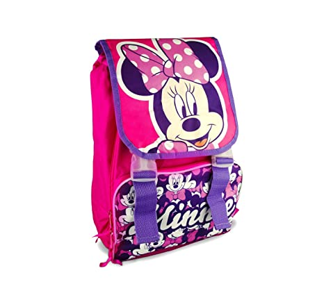 21-1417 Mochila escolar motivo Minnie Disney extensible con bolsillo frontal