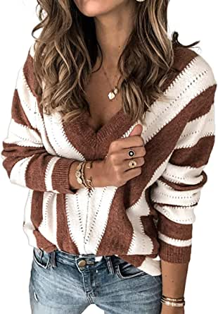 Women's Fashion Long Sleeve Striped Color Block Knitted Sweater Crew Neck Loose Pullover Jumper Tops