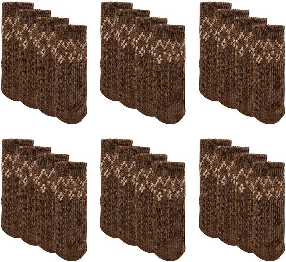 Furniture Socks, Outgeek 24 Pack Knitted Furniture Feet Socks Chair Leg Floor Protectors (Dark Coffee)