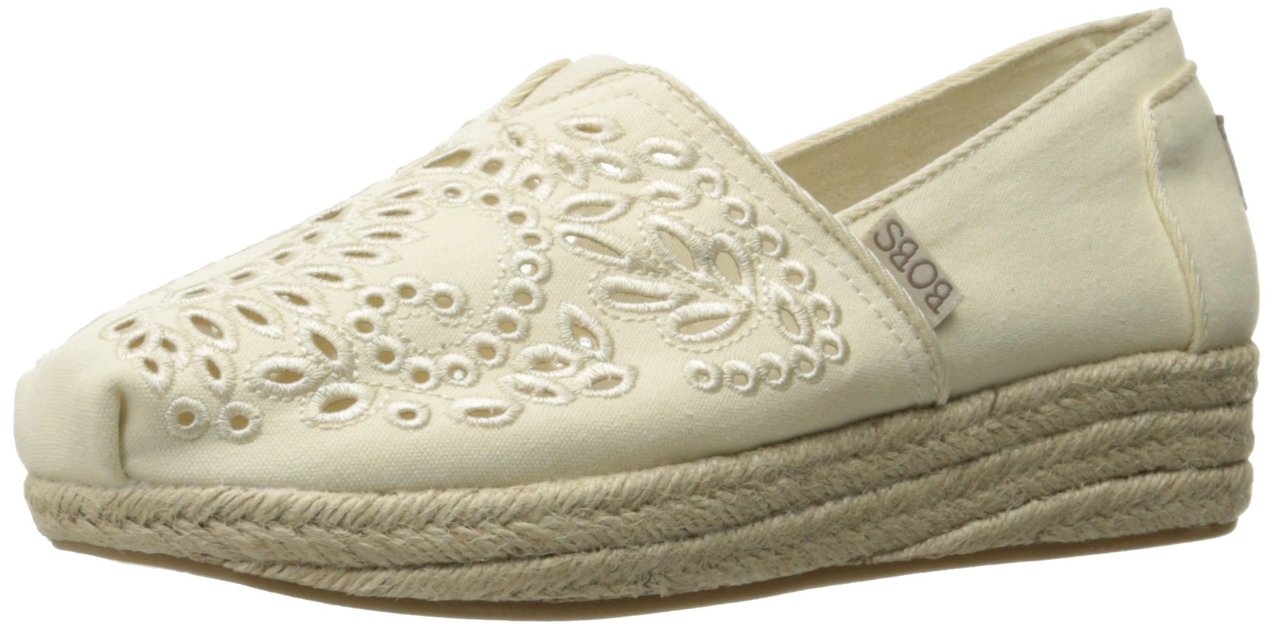 Skechers BOBS from Women's Highlights-Sun Flower Flat, Natural Sunflower, 9 M US