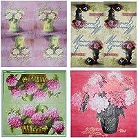 The Craftshop Assorted Beautiful Decoupage Napkin Flower Basket Set (20 pieces) (4 designs) Size : 33 x 33 cm 3-ply - 1/4 folded