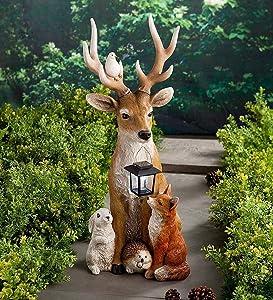 KLML Deer and Friends Solar Holiday Figurin, Resin Deer Statue Sculpture Ornaments, Animal Garden Statue Deer Models, Anniversary Yard Lawn Decor, Indoor Outdoor Art Gifts Ornaments