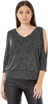 Roman Originals Womens Pearl Cold Shoulder Top Sizes 10-20