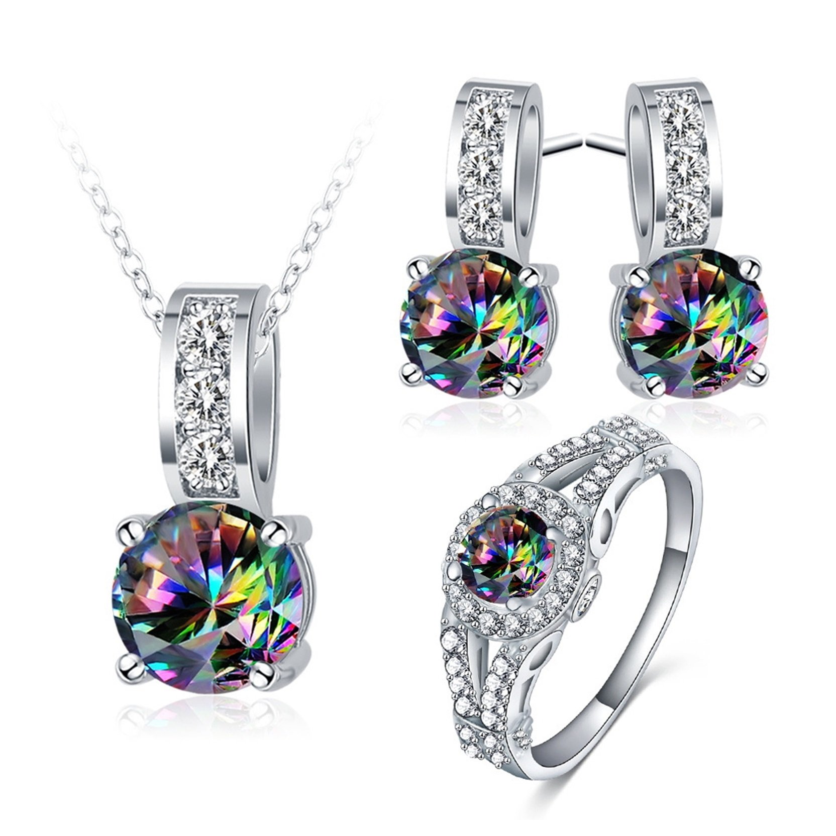 MoAndy Women Necklace Earrings Wedding Ring Bands Jewelry Set Colorful Cubic Zirconia Size 8