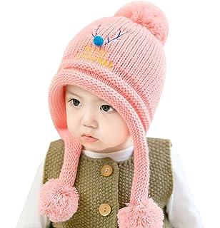 Chapeau Crochet à Pompon Bébé Fille pour 6-24 Mois Automne Hiver Bonnet  Laine Peluche 222ca7ff4a0