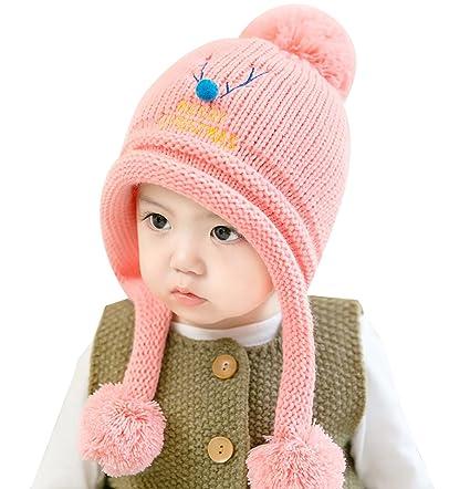 Chapeau Crochet à Pompon Bébé Fille pour 6-24 Mois Automne Hiver Bonnet  Laine Peluche f59901d5320