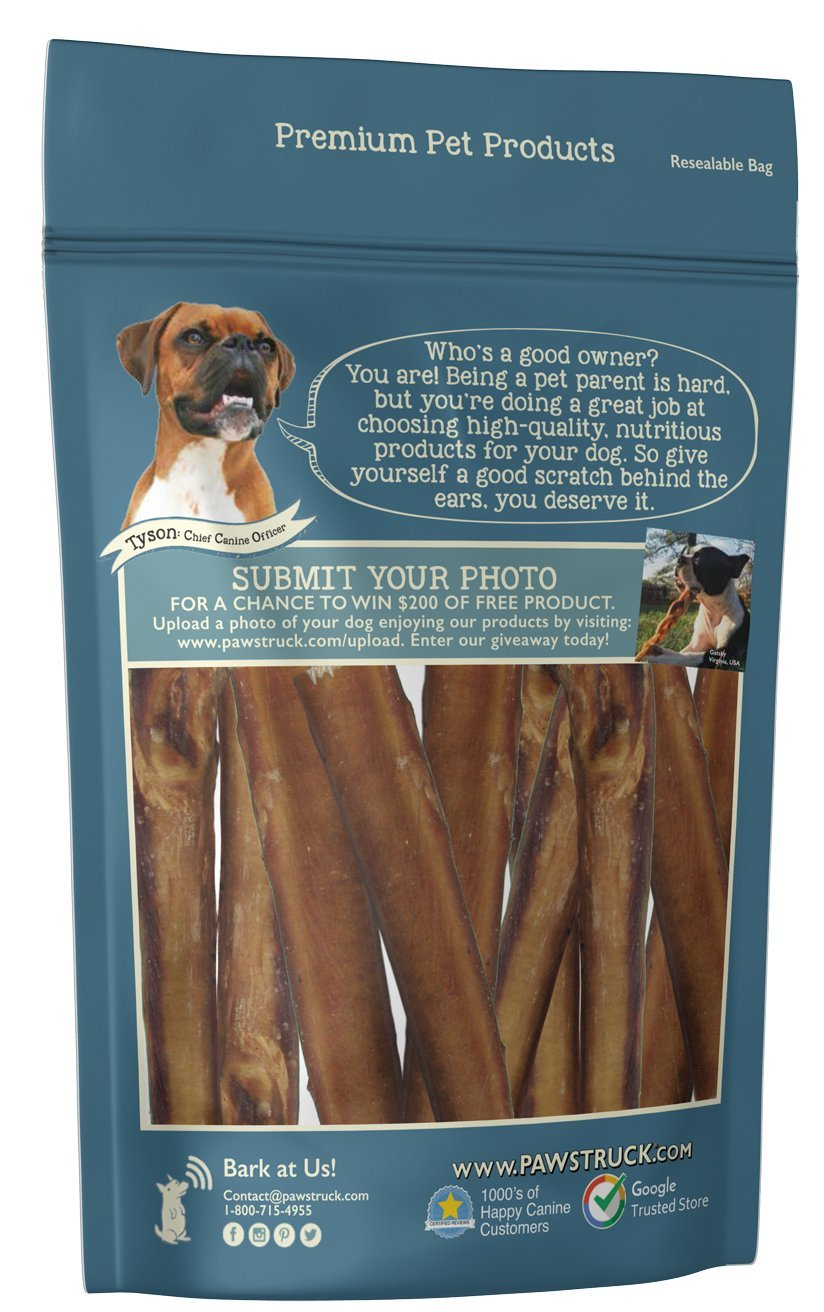 5'' Straight Bully Sticks for Dogs [LARGE THICKNESS] (50 Pack) - All Natural & Odorless | Long Lasting Dog Chew Dental Treats | Best Thick Bully Sticks | Grass-Fed Beef Bully Pizzle Bone | Dog or Puppy by Pawstruck (Image #8)