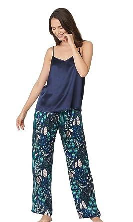 LilySilk Silk Pajamas for Women 2pc Floral Long Silk Camisole Set 100 Mulberry  Silk Sleepwear Navy ac137b24e