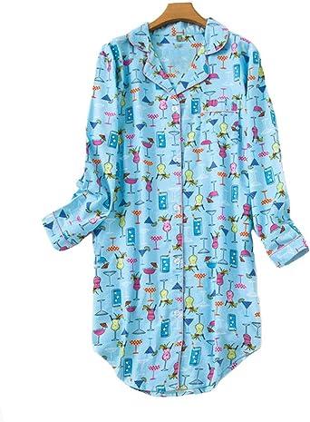 Pijama Mujer Algodon Invierno Manga Larga Ropa de Dormir Tallas Grandes Camison Botones Pijamas: Amazon.es: Ropa y accesorios