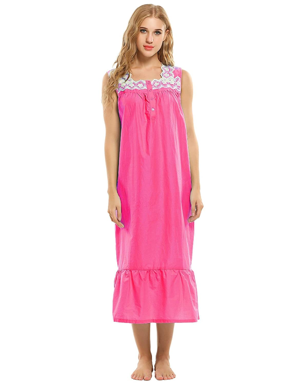Ekouaer Vintage Nightgown Womens Cotton Victorian Nighties (Rose Red, Large) EK003635_RR_L#